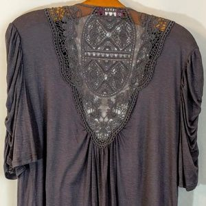 Annabelle Tops - Annabelle Lace Back Layered Look Shirt 3X